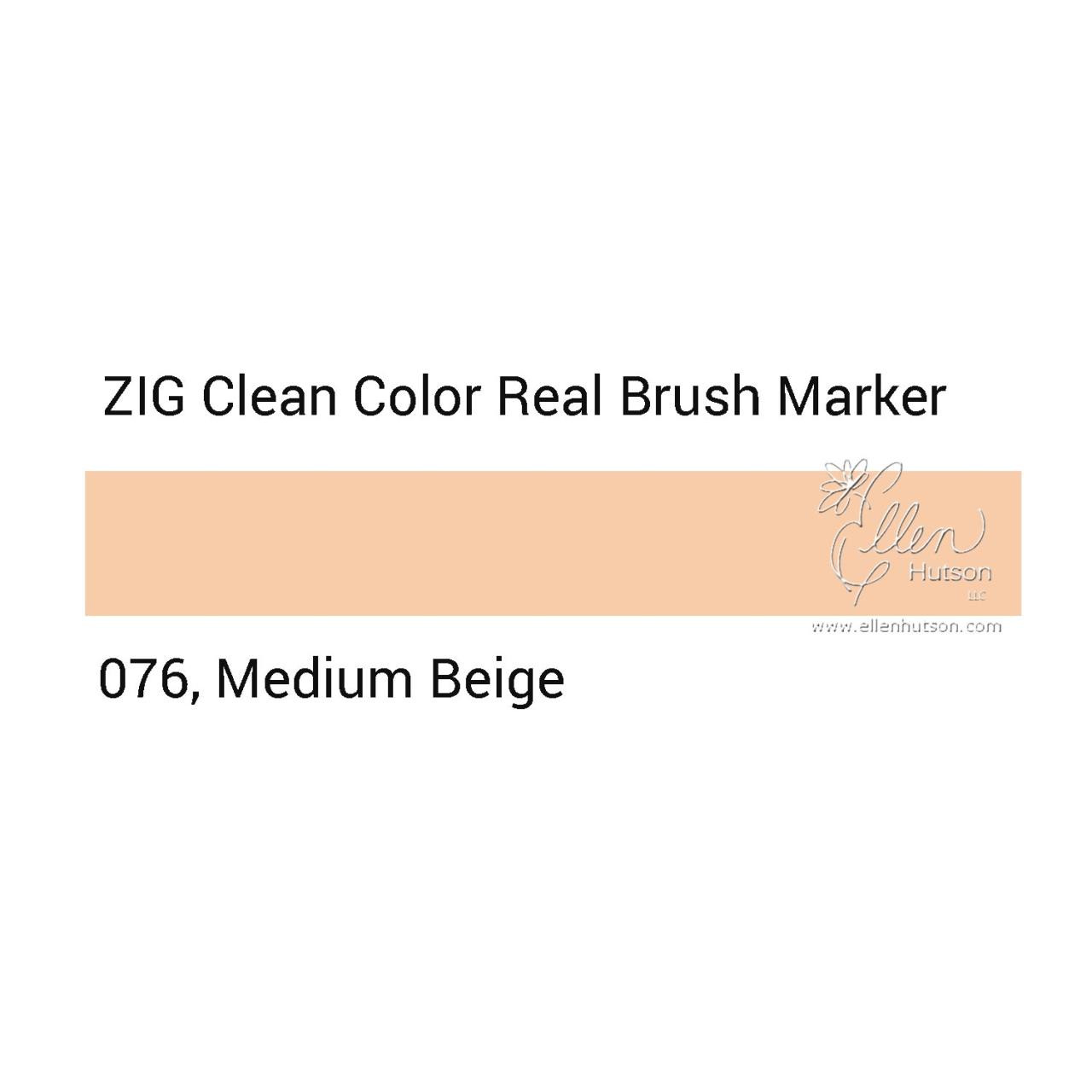 076 - Medium Beige, ZIG Clean Color Real Brush Marker - 847340037101