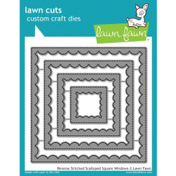 Reverse Stitched Scalloped Square Windows, Lawn Cuts Dies - 352926713244