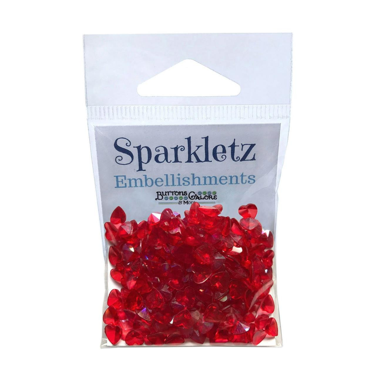 Red Hearts, Buttons Galore Sparkletz - 840934055666