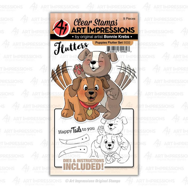 Puppies Flutter, Art Impressions Clear Stamps - 750810794827