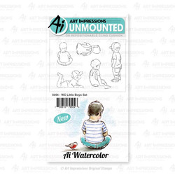 Watercolor Little Boys, Art Impressions Cling Stamps - 750810795046