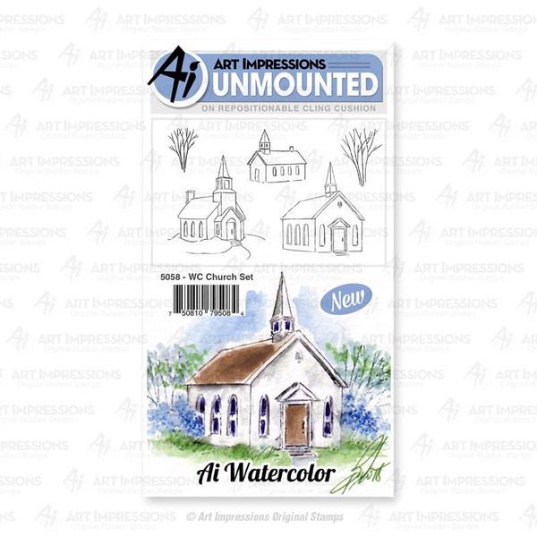 Watercolor Church, Art Impressions Cling Stamps - 750810795084