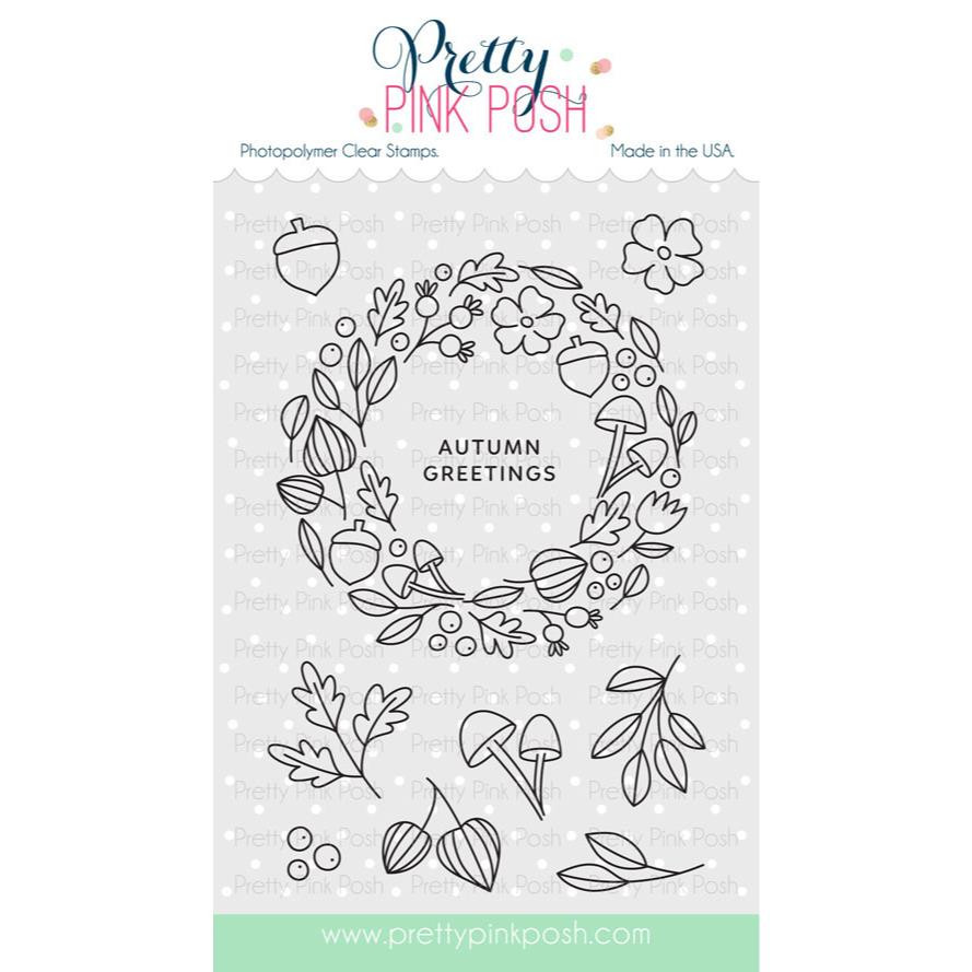 Autumn Wreath, Pretty Pink Posh Clear Stamps -