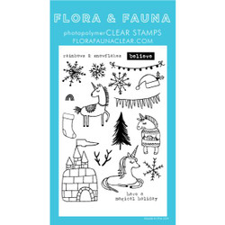 Unicorn Ice Castle, Flora & Fauna Clear Stamps - 796258445044
