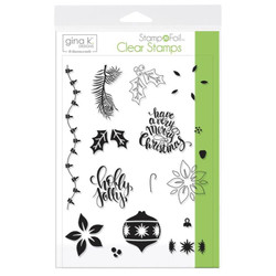 Gina K Designs Stamp N Foil Clear Stamps, Holly Jolly - 000943181194