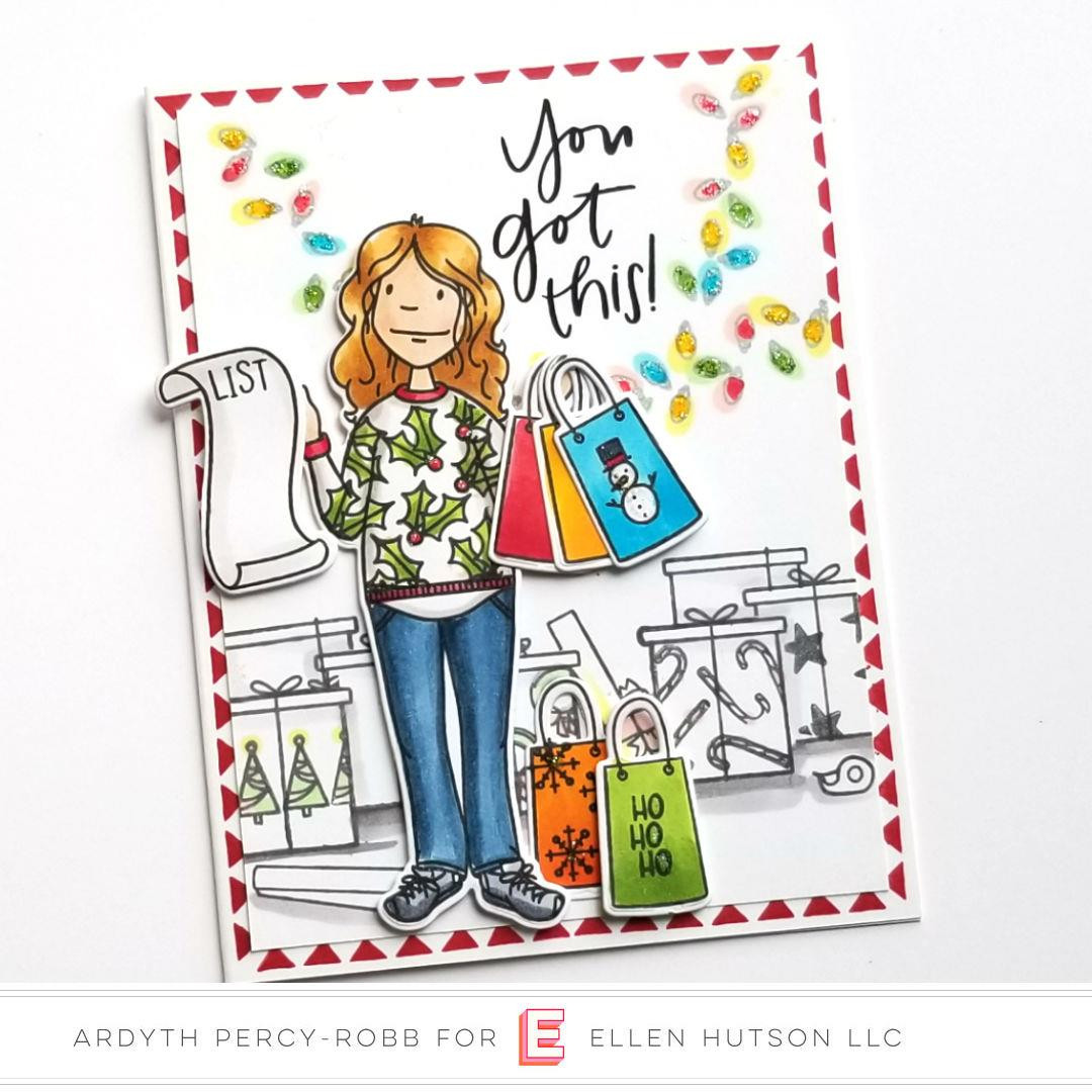 Leading Ladies - Holiday Shopper Lady By Brandi Kincaid, Essentials By Ellen Clear Stamps -