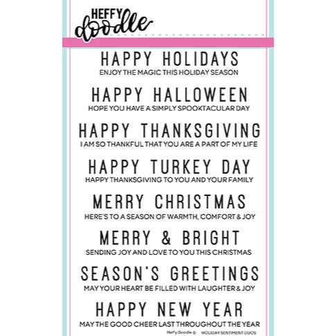 Holiday Sentiment Duos, Heffy Doodle Clear Stamps - 5060540220905