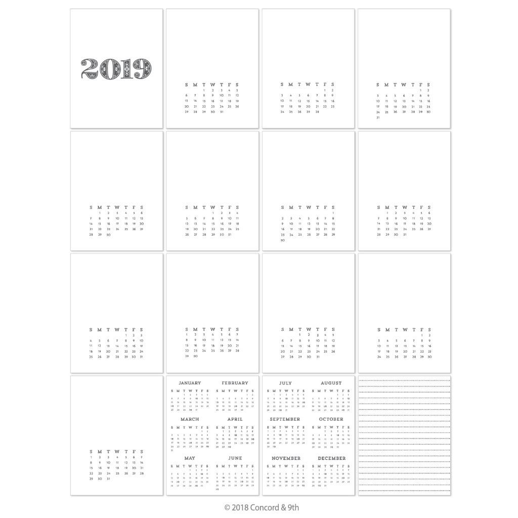 2019 Calendar, Concord & 9th Preprinted Calendar - 902223995180