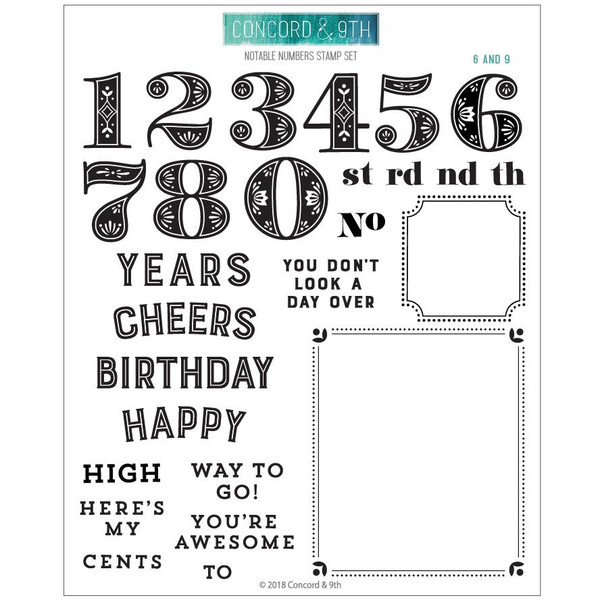 Noteable Numbers, Concord & 9th Clear Stamps - 902223995258