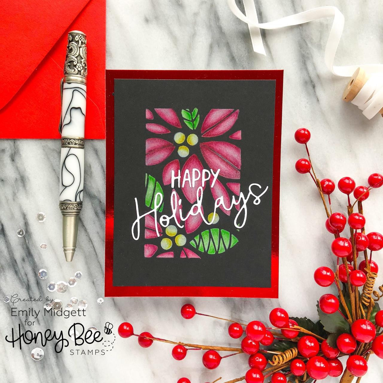 Poinsettia Background, Honey Bee Stencils - 652827599221