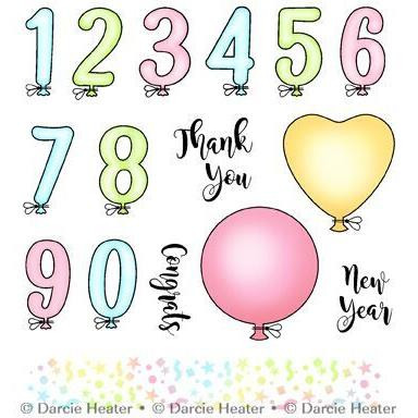Balloon Numbers, Darcie's Clear Stamps -