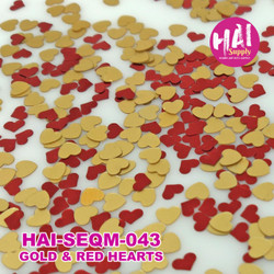 Red & Gold Hearts, HAI Sequins -