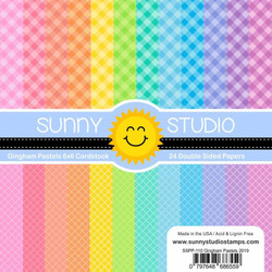 Gingham Pastels, Sunny Studio 6 X 6 Paper Pad - 797648686559