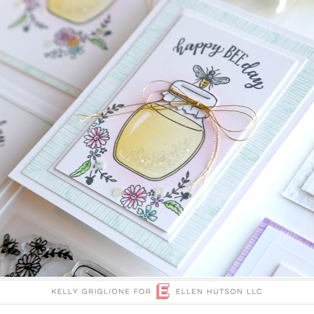 Happy Bee Day, Reverse Confetti Clear Stamps -