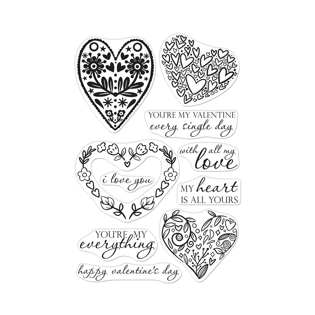All My Love Decorative Hearts, Hero Arts Clear Stamps - 857009204690