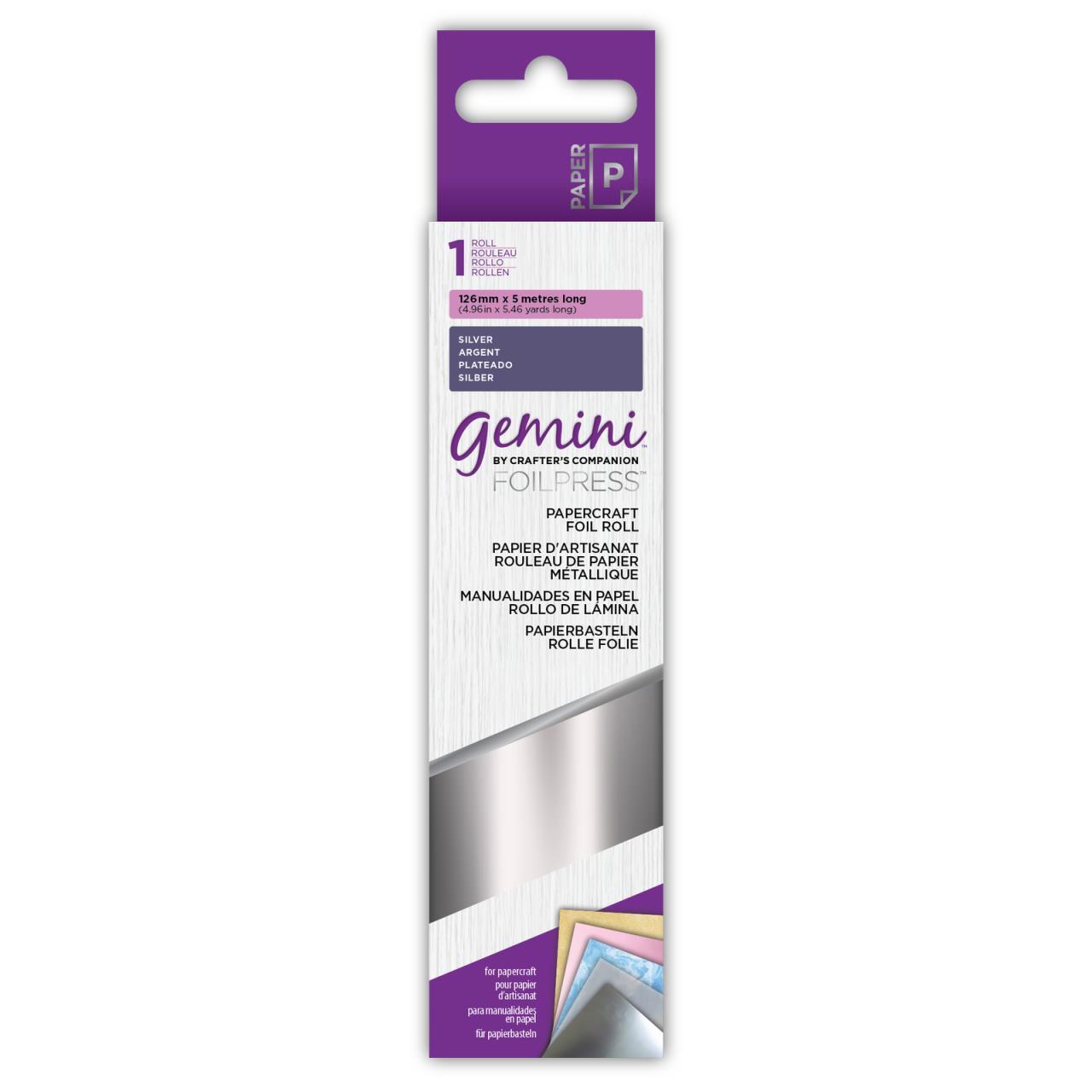 Silver, Gemini FoilPress Papercraft Foil Rolls - 709650879454