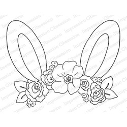 Floral Bunny Ears, Impression Obsession Cling Stamps -