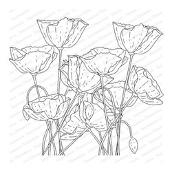 Poppy Field, Impression Obsession Cling Stamps -