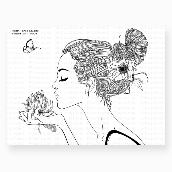 Beautiful Girls - Sandra, Picket Fence Studios Clear Stamps -