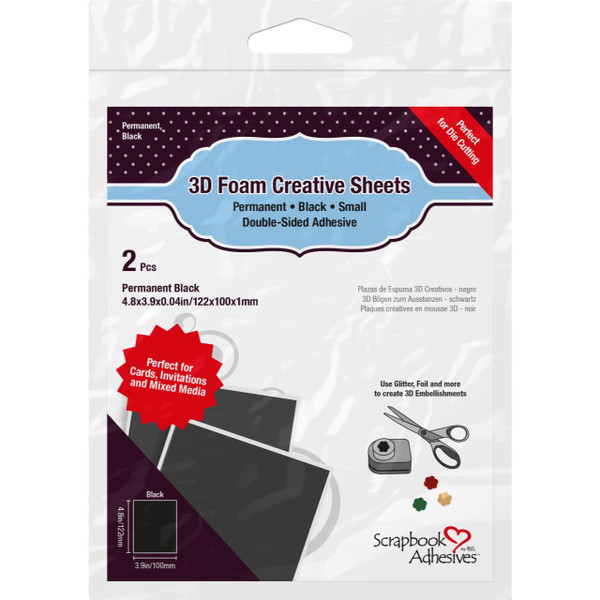 Scrapbook Adhesives 3D Foam Creative Sheets Small, Black - 936160122910