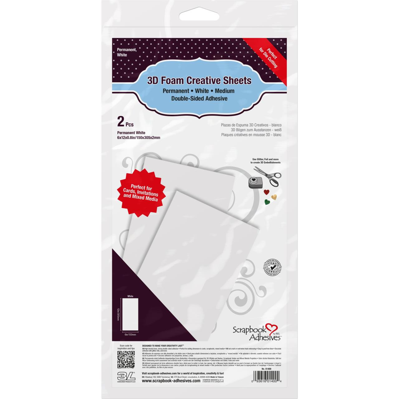 Scrapbook Adhesives 3D Foam Creative Sheets Medium, White - 936160140044