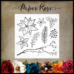Christmas Poinsettia, Paper Rose Clear Stamps -