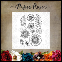 Doodle Flowers, Paper Rose Clear Stamps -