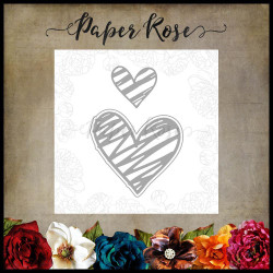 Scribbled Hearts 1, Paper Rose Dies -
