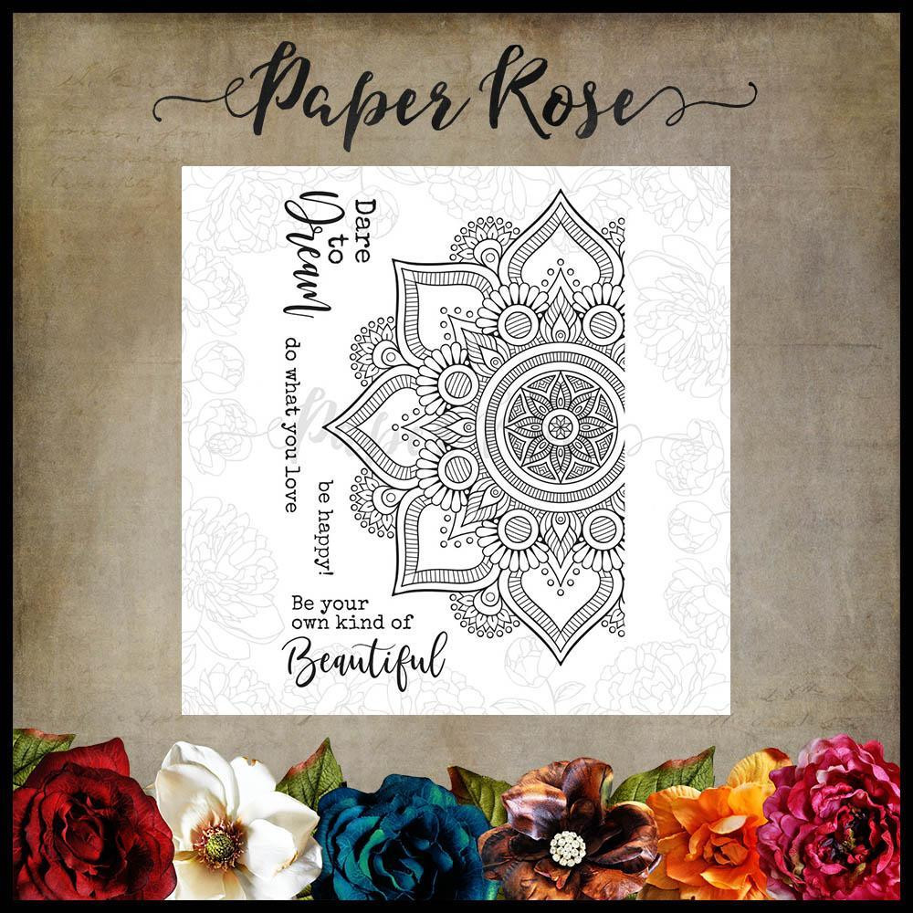 Beautiful Mandala, Paper Rose Clear Stamps -