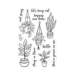 Hang In There Potted Plants, Hero Arts Clear Stamps - 857009205512