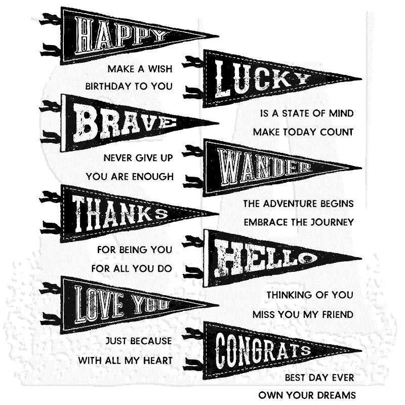 Pennants, Tim Holtz Cling Stamps -
