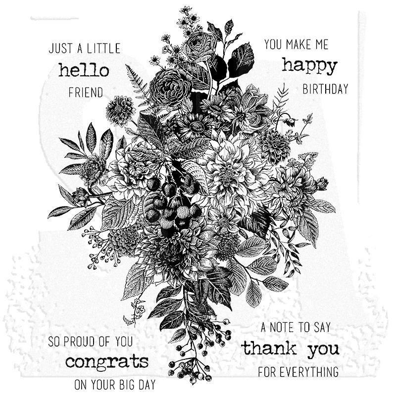 Glorious Bouquet w/ Gridblock, Tim Holtz Cling Stamps -