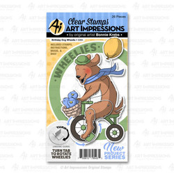 Birthday Dog Wheelie, Art Impressions Clear Stamps - 750810795435