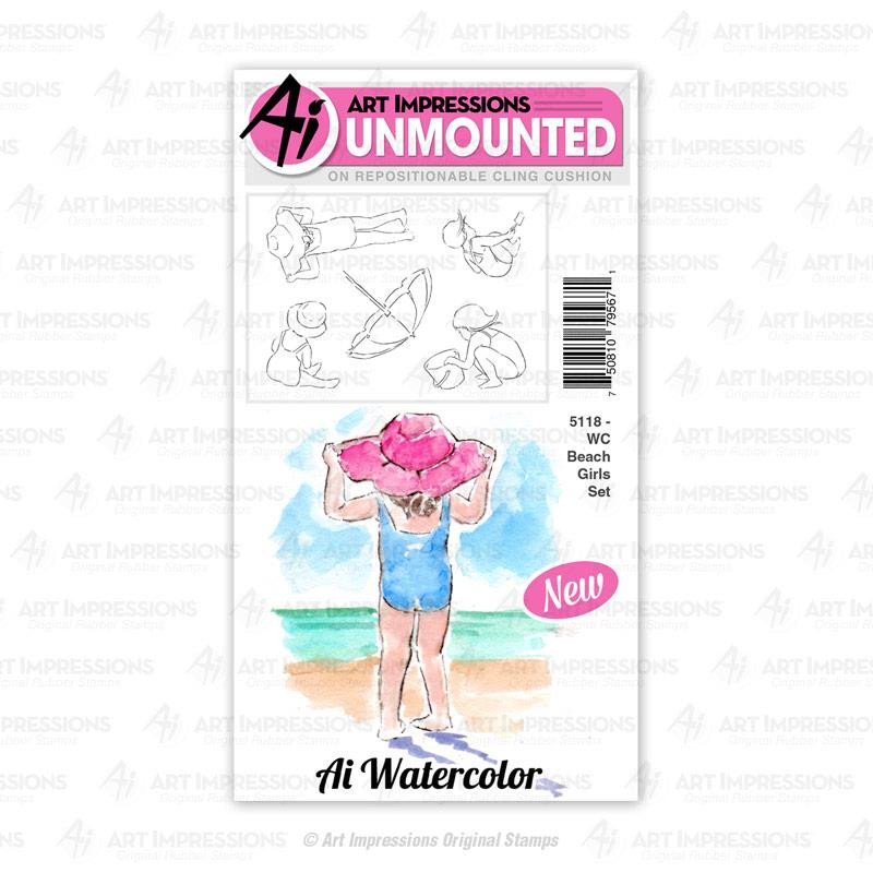 WC Beach Girls, Art Impressions Cling Stamps - 750810795671