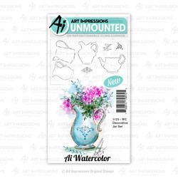Watercolor Decorative Jar, Art Impressions Cling Stamps - 750810795725