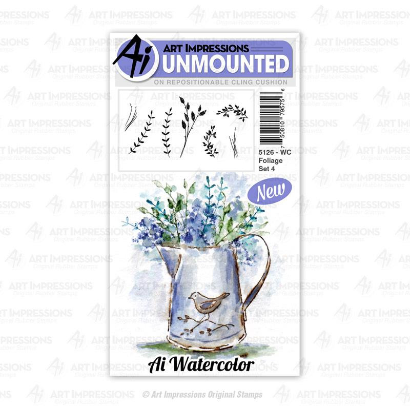 Watercolor Foliage Set 4, Art Impressions Cling Stamps - 750810795756