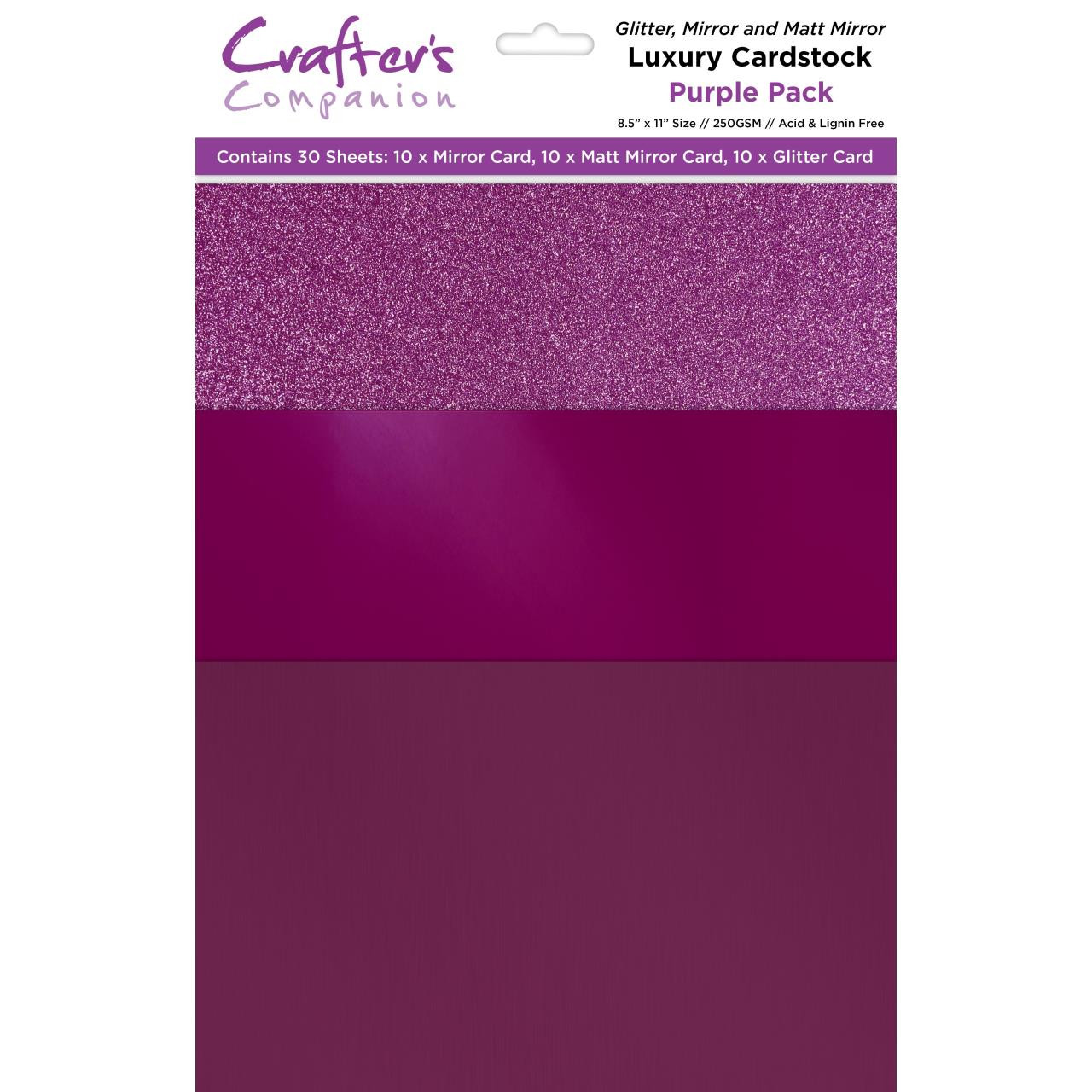 Purple Luxury Mixed Card Pack, Crafter's Companion 8.5 X 11 Cardstock - 709650827196