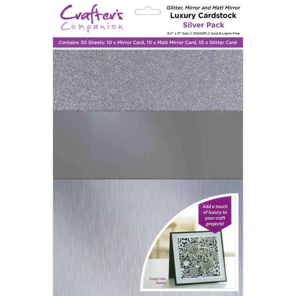 Silver Luxury Mixed Card Pack, Crafter's Companion 8.5 X 11 Cardstock - 709650823624