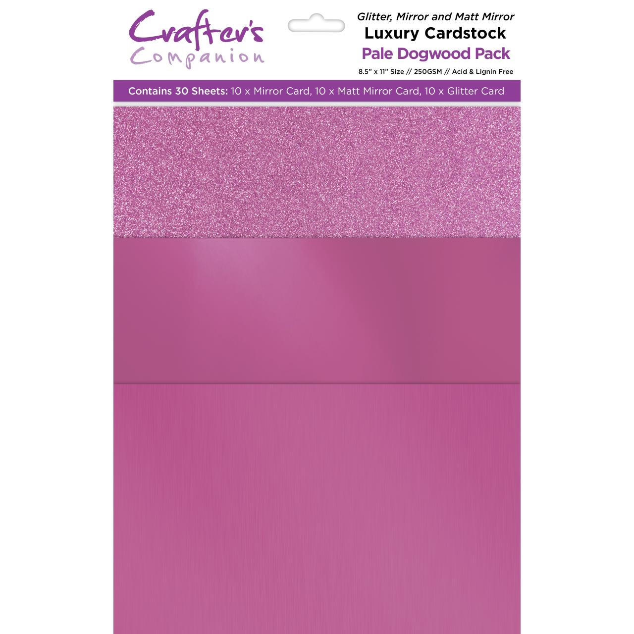 Pale Dogwood Luxury Mixed Card Pack, Crafter's Companion 8.5 X 11 Cardstock - 709650831582