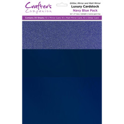 Navy Blue Luxury Mixed Card Pack, Crafter's Companion 8.5 X 11 Cardstock - 709650831612