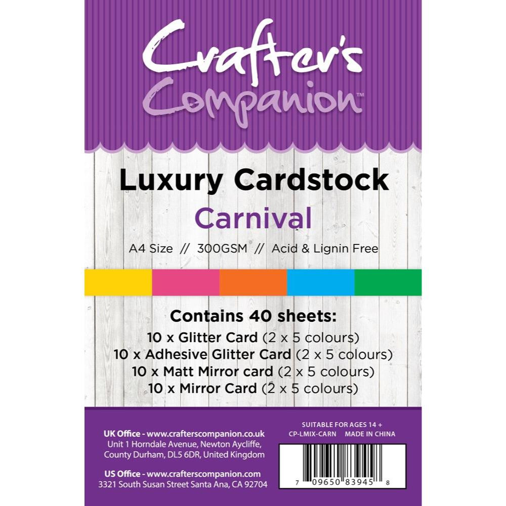 Carnival Luxury Mixed Card Pack, Crafter's Companion 8.5 X 11 Cardstock - 709650839458