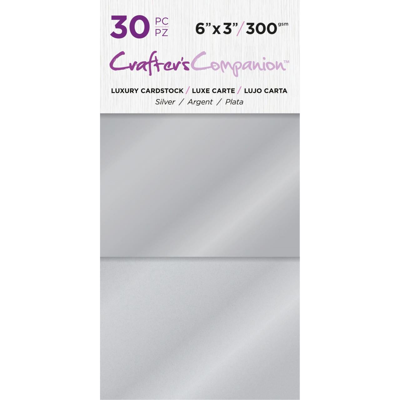 Silver, Crafter's Companion 6 X 3 Luxury Cardstock Pack - 709650865747