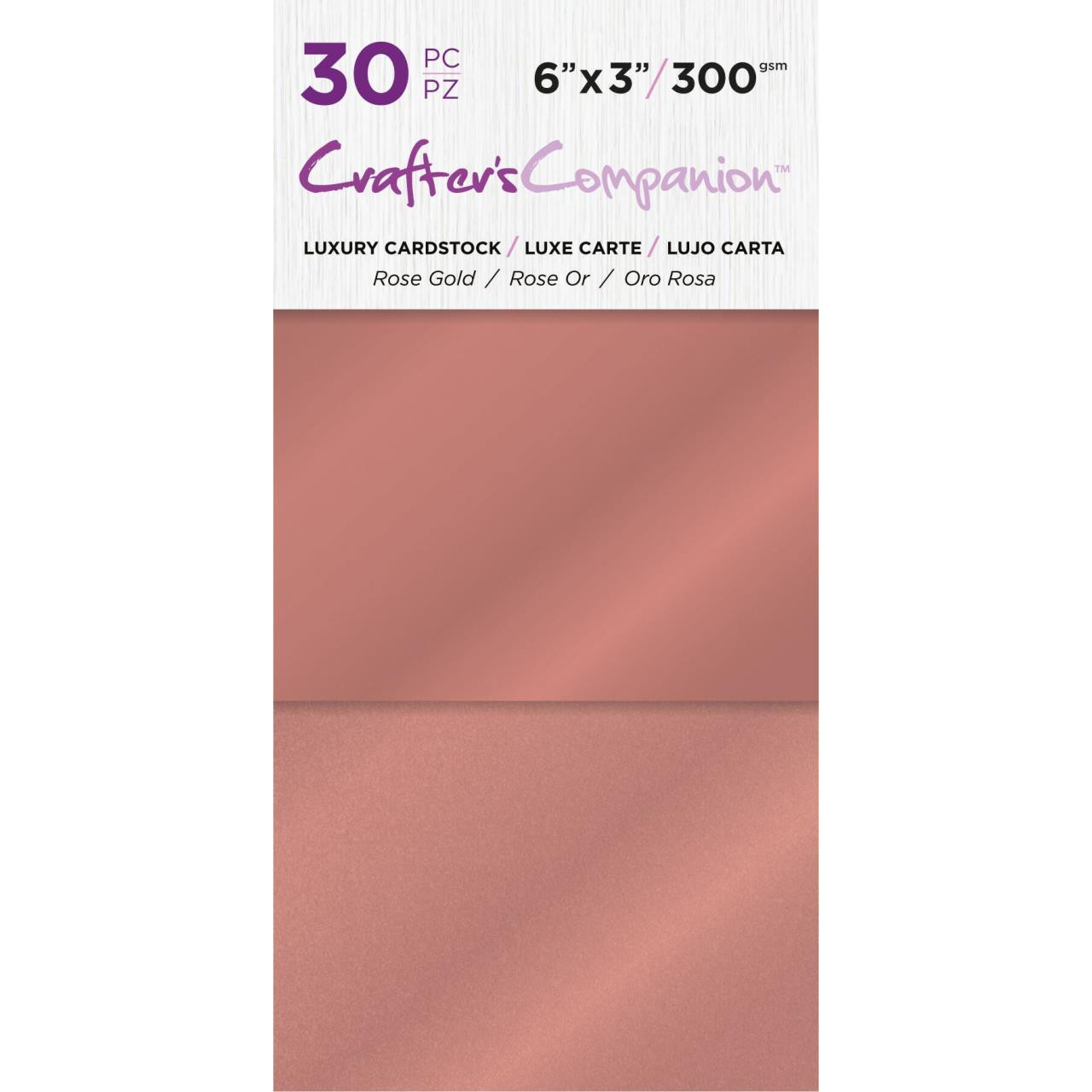 Rose Gold, Crafter's Companion 6 X 3 Luxury Cardstock Pack - 709650865723