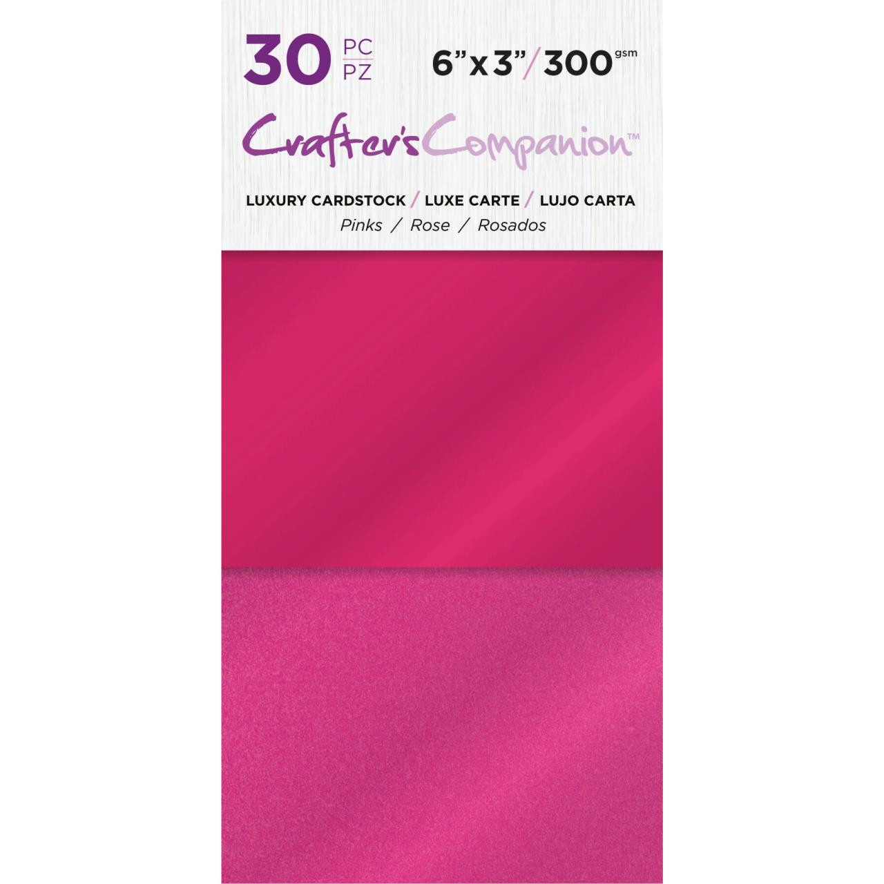 Pink, Crafter's Companion 6 X 3 Luxury Cardstock Pack - 709650865648