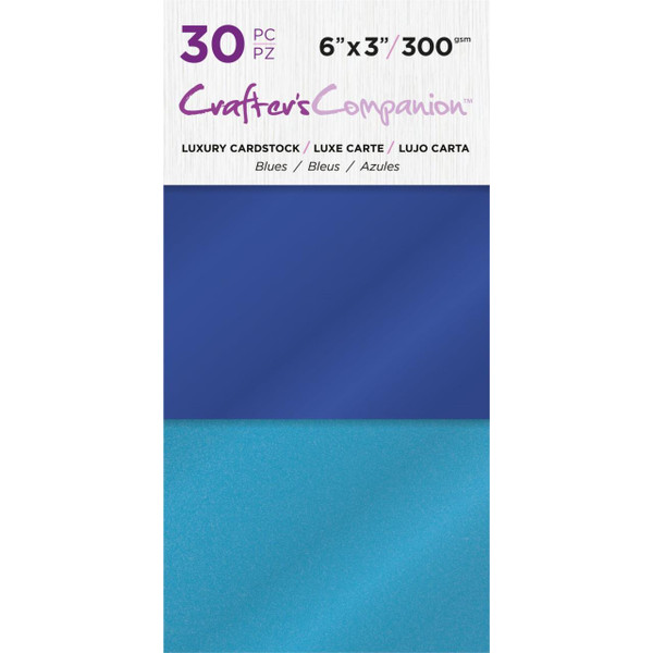 Blue, Crafter's Companion 6 X 3 Luxury Cardstock Pack - 709650865686
