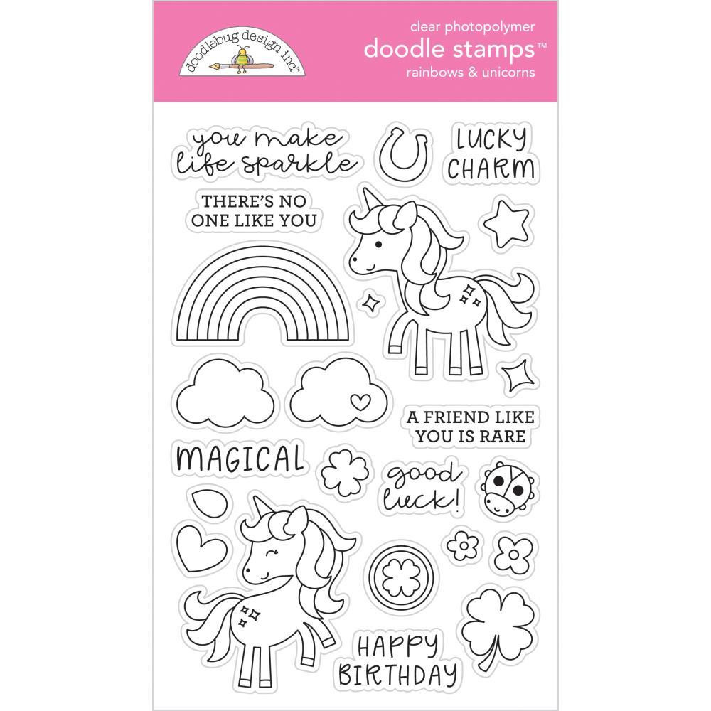 Rainbows & Unicorns, Doodlebug Clear Stamps - 842715063297
