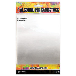 Brushed Silver, Ranger Alcohol Ink Cardstock -