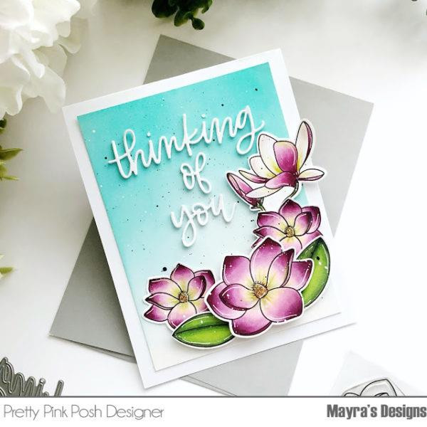Magnolia Flowers, Pretty Pink Posh Clear Stamps -