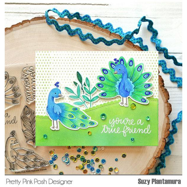 Peacock Friends, Pretty Pink Posh Clear Stamps -