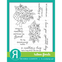 Hatbox Florals, Reverse Confetti Clear Stamps -